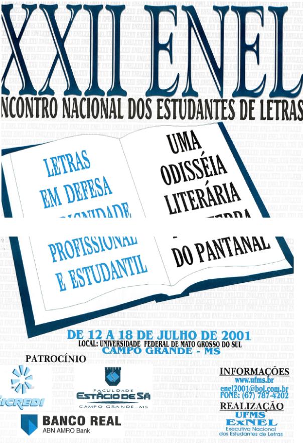 Cartaz do XXII Encontro Nacional dos Estudantes de Letras - 2001 (UFMS - Campo Grande/MS)