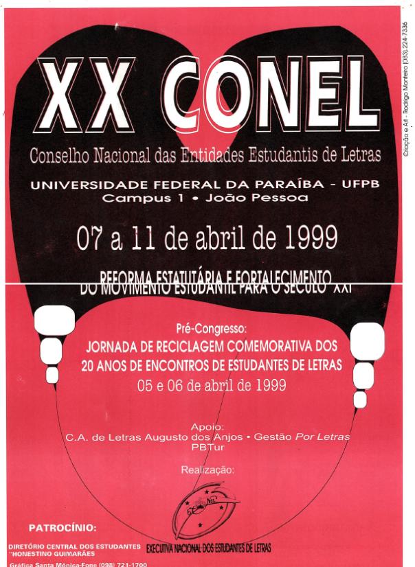 Cartaz do XX CoNEL (1999 - Universidade Federal da Paraíba)