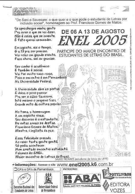Folder do ENEL 2005 - na Universidade Federal de Pernambuco, em Recife/PE