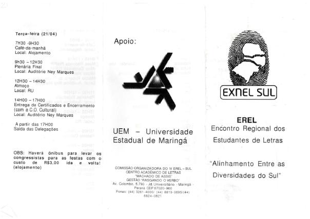 Folder do Encontro Regional dos Estudantes de Letras - EREL Sul, realizado em 2009 na UEM - Universidade Estadual de Maringá - Maringá/PR